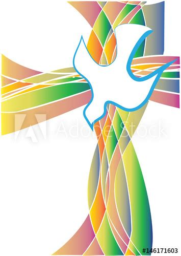 Holy Spirit symbol - a white dove with a cross made of